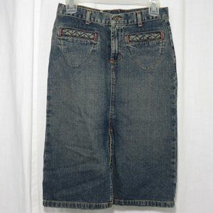 Guess Jeans Blue Denim Pencil Skirt 24 Made In USA
